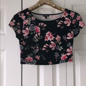 Express Black Floral Cropped Top
